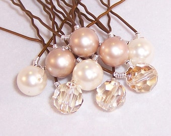 Champagne Toast Bridal Veil Hair Pins with Swarovski Pearls and Crystals