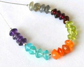 24pcs Assorted Gemstone Rondelle Bicone Beads 4-4.5mm Garnet Apatite, Amethyst, Carnelian, Peridot Mix Gemstone Precious (ID DT-C11415b)