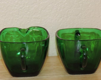Fire King Charm Forest Green Creamer and Sugar