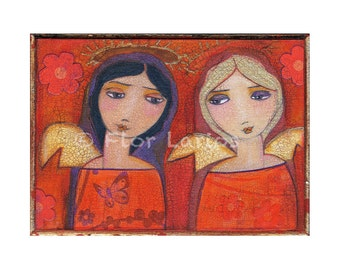 Friends - Collage Painting Primitive Folk Art ( 5 x 7 inches PRINT) by FLOR LARIOS