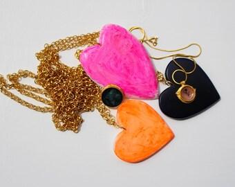 Collier coeur orange, série asphalt, fabriqué en Italie, bijoux italien