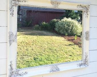 White Distressed Vanity Mirror, Farmhouse Style Mirror, Gray and White