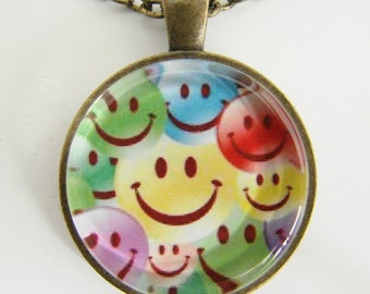 SMILEY FACE Necklace, Gift for boys and girls, Happy faces and loads of smiles, Friendship token, For the young at heart