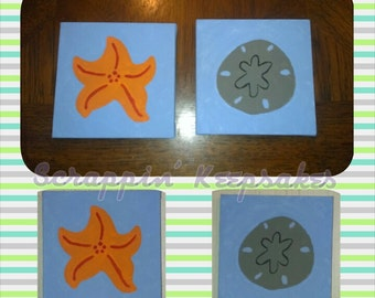 Starfish and Sand dollar paintings