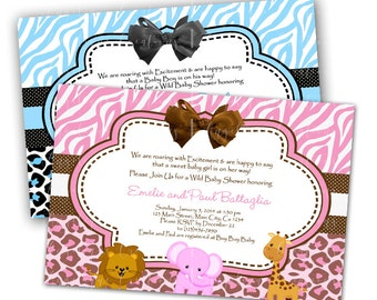 Safari Baby Shower Invitations & Blank Thank You Card to match