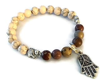 cream howlite, jasper, hamsa, elephant bead stretch bracelet
