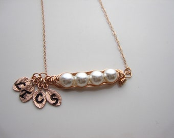 Peapod, Rose gold Peas in a Pod necklace, 14k Rose gold filled pea pod, Mother's Day, Valentine's Day, Birthday Gift, Friendship