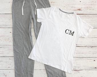 Personalised Long Pyjamas Set, Embroidered Monogrammed Gift, Pyjamas, Christmas Pyjamas, T-Shirt and Trousers Pajamas