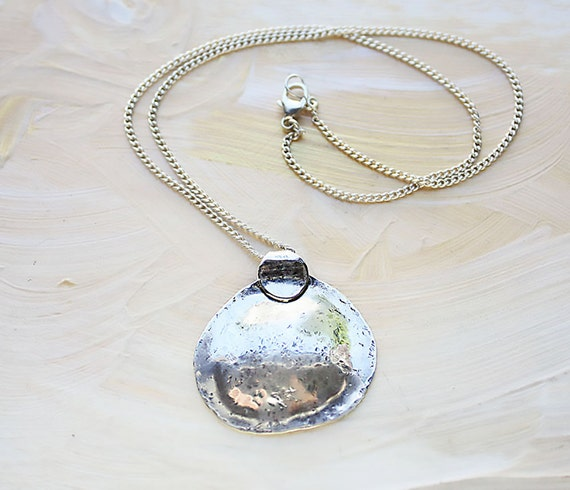 Sterling silver necklace big silver pendant organic round aloadofball Image collections