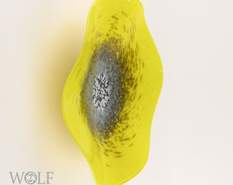 MADE TO ORDER Blown Glass Wall Art Bright Yellow with Grey Poppy Flower Glass Sculpture