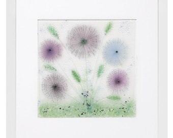Fused Glass Purple Lilacs Meadow Flower Scene Presented in a Box Frame