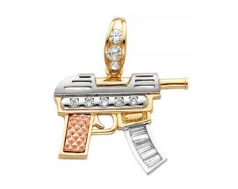 14K Solid Yellow White Rose Gold Cubic Zirconia Machine Gun Pendant - Rifle Necklace Charm