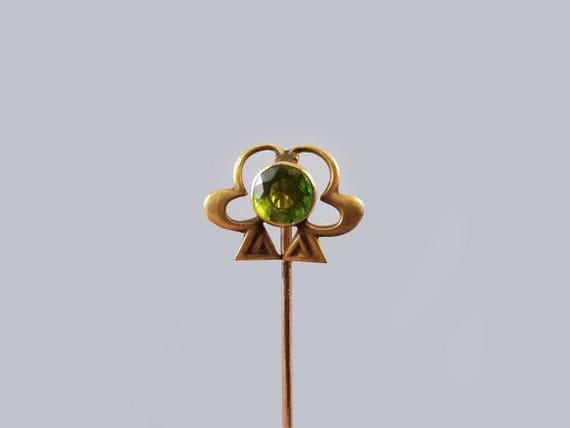 Edwardian 10k gold green peridot doublet clover shamrock good luck stick pin, stickpin, lapel pin, tie pin, tie tack, brooch, saint Patrick