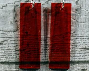 Red Perspex Rectangle Earrings - Drop Earrings