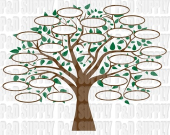 Family Tree 24 SVG, DXF Digital cut file for cricut or Silhouette svg, dxf - 24 Circles for Family Members