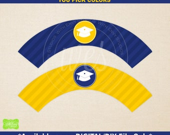 Graduation Cupcake Wrappers - Printable Cupcake Wrapper - DIY Cupcake Wrappers - Graduation Party Printables