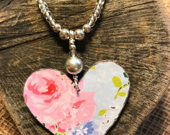 Hand Crafted, Up Cycled Tin Heart Necklace