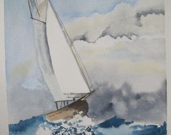 watercolor sailboat on stormy sea
