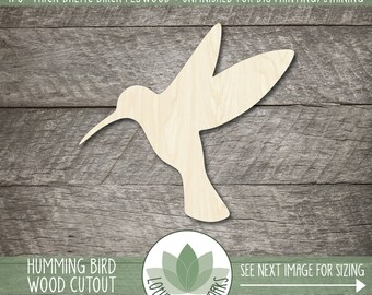 Humming Bird Wood Laser Cut Shape, Wooden Humming Bird Coutout, Blank Wood Shapes, Unfinished Wood For DIY Projects, Wood Bird Shapes