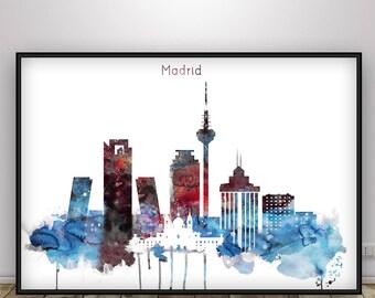 Madrid Watercolor Skyline Print, Spain Cityscape, Home decor, Travel wall art, European city art, Wall Art, Spain Watercolor
