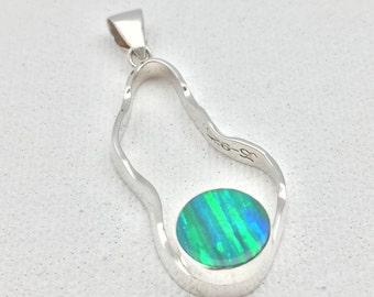 Green Fire Opal Pendant // 925 Sterling Silver Setting // Round Teardrop Shape // Forest Green Opal Pendant