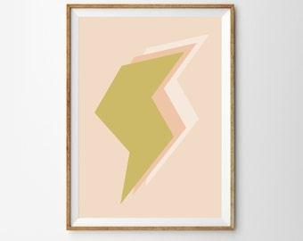 Midcentury Nursery Decor Art Printable, Lightning Bolt, Gold & Peach, Minimalist Kids Room Decor Art Print Download, Wall Art Poster, bolt