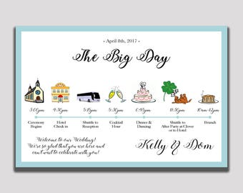 Wedding Timeline; Customer Wedding Itinerary Timeline ; Wedding Day Schedule ; Icons ; Order of Events ; Printed OR Printable / Digital File