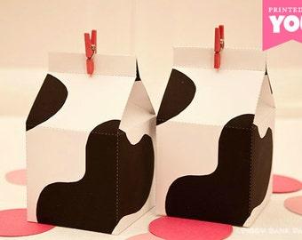 Milk Carton Favor Box : DIY Printable Cow Print Carton PDF - Instant Download
