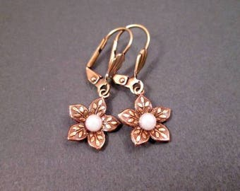 Brass Flower Earrings, White Pearl Centers, Small Dangle Earrings, FREE Shipping U.S.