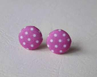 Round earrings of fabrics - purple with white polka dots