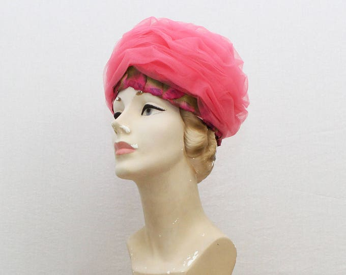 Vintage 1960s Pink Tulle Turban Hat by Leopold Original - 22 Inches