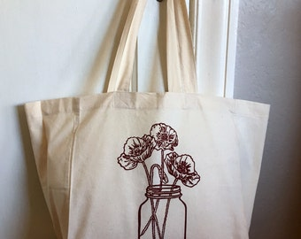 Market Tote Bag - Poppies in a Mason Jar - Cotton Tote - Reusable Grocery Bag - Book Bag - Beach Bag