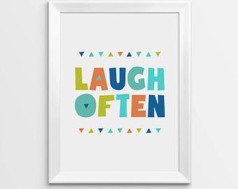 Nursery Wall Art, Laugh Often print, Kids Room Decor, Nursery art print, Nursery Prints, Nursery Quotes, Nursery Poster