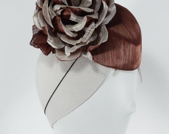 Copper and Ivory Silk abaca Fascinator with handmade oversize Flower