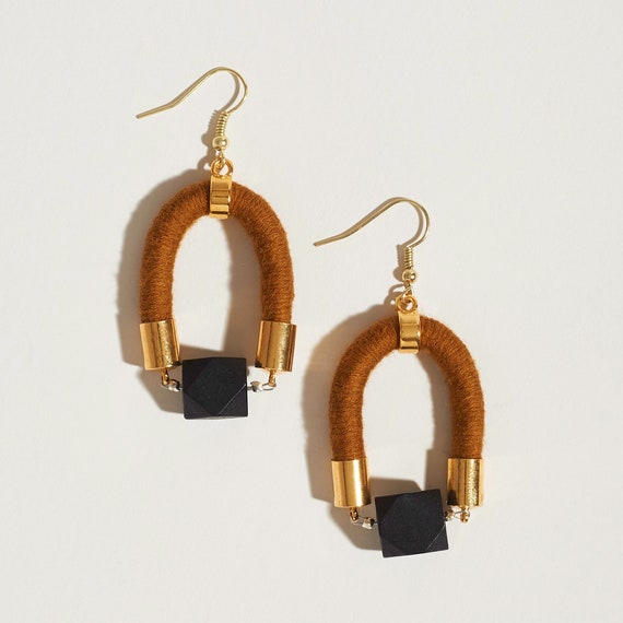 Black Faceted Bead + Textile Earrings