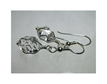 "ww1292 - 1/2"" Wirewrap HERKIMER DIAMOND EARRINGS - Argentium Sterling Silver"