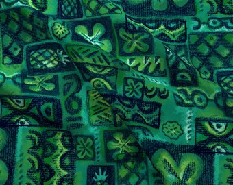 Turquoise Tiki Fabric - Green Flower By Woodyworld - Green Blue Vintage Tropical Tiki Floral Cotton Fabric By The Yard With Spoonflower