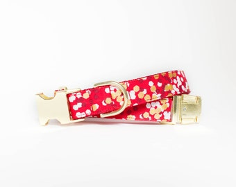 Christmas Confetti Dog Collar in Red
