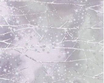 Robert Kaufman - Sugar Plum by Mckenna Ryan - Snowy Forest w/ Metallic Silver - Dawn - Fabric by the Yard AYCM15901208