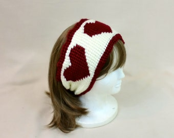 Heart Headband Ear Muffs, Valentine Ear Warmer, Red White Hair Tie, Turban Style Hair Wrap, Hair Band Ear Warmer, Wide Ski Earmuffs, Winter