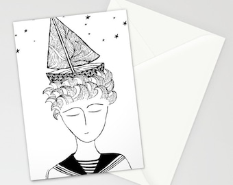 Marinero Greeting cards, Set of THREE FOLDED CARDS