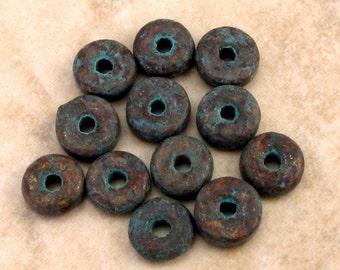 Greek Mykonos Ceramic Round Washer Beads 6 mm Metalized Green Patina 12 Pieces M37