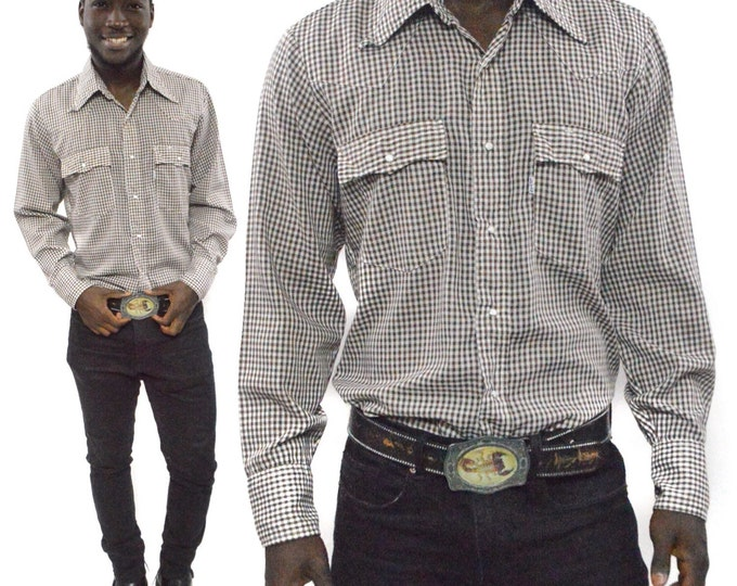 Vintage 90s Levi's Levi Strauss & Co. Long Sleeve Button Down Gingham Shirt Sz M