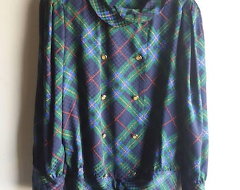 Louis feraud silk 1970's vintage Plaid blouse