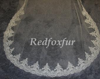 Elegant Wedding Veil, Bridal Veil, cathedral veil, Alencon Lace veil 3 meters veil, white veil, ivory veil