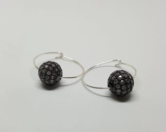 Handmade 19mm Sterling Silver Hoops w/ Pave Bead