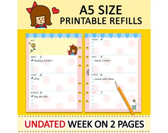 PRINTABLE A5 Size UNDATED Week On Two Pages Cute Kokeshi Refills for Filofax Kikki-K Louis Vuitton Planner Instant Download