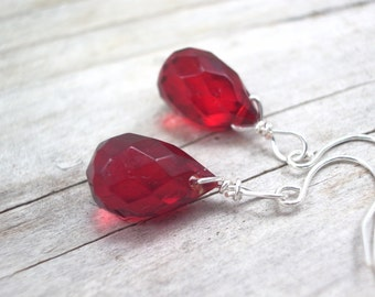 red earrings glass crystal teardrop earrings  red jewelry  wedding bridesmaid earrings
