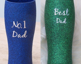 Hand glittered Dad pint glass personalised to you. Father's Day Gift For Him