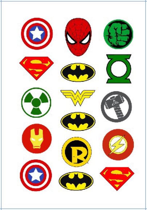 Superhero Symbols Logo Avengers Batman Temporary Tattoo